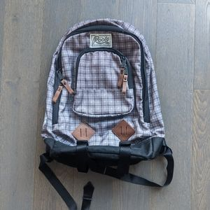 Roots Plaid Backpack with Leather Zipper Pulls